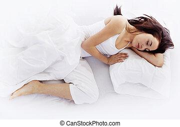 mujer joven, sueño, blanco, cama