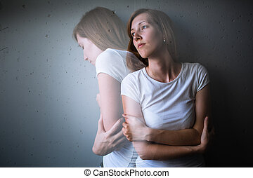 mujer joven, sufrimiento, de, un, severo, depression/anxiety
