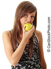 mujer joven, sujetar una manzana