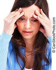 mujer joven, teniendo, un, headache.