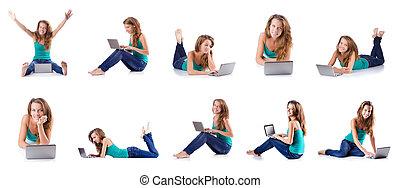 mujer joven, trabajo encendido, computador portatil