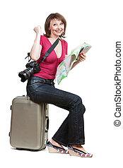 mujer joven, turista, sitiing, en, el, maleta