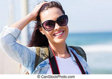 mujer, joven, vacaciones