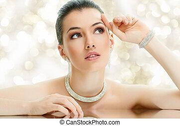 mujer, joyas