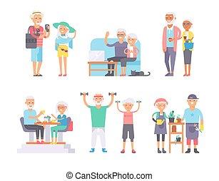 mujer, jubilados, feliz, edad, pensionistas, vector, cuidado...