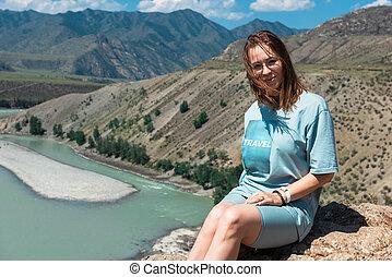mujer, katun, verano, ríos, día, dos, belleza, altai, confluencia, chuya, montañas