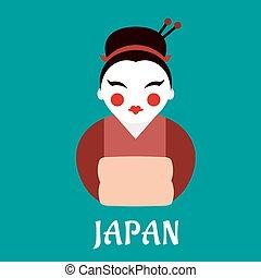 mujer, kimono, japonés, geisha