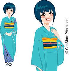 mujer, kimono, verde, japonés