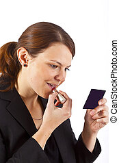 mujer, lápiz labial, empresa / negocio