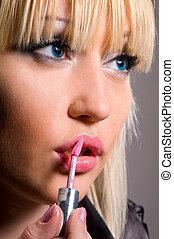 mujer, lápiz labial