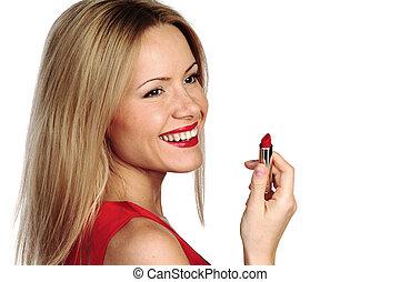 mujer, lápiz labial rojo