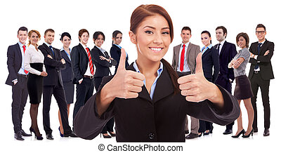 mujer, líder, es, muy, feliz, sobre, el, resultados