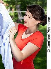 mujer, lavadero, ahorcadura