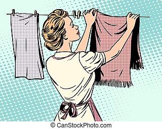 mujer, lavado, después, ama de casa, quehacer doméstico, ...