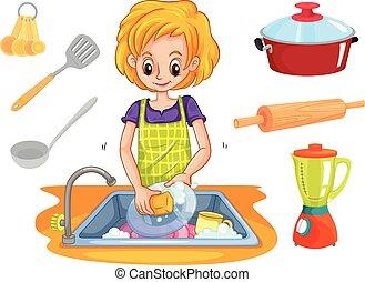 mujer, lavado, fregadero, platos
