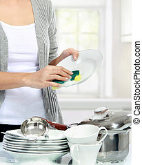 mujer, lavar platos, cocina
