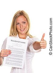 mujer, lease., completado, con éxito, joven, inglés, tiene