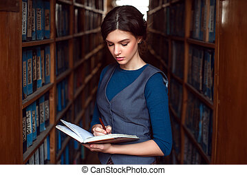 mujer, library., lectura