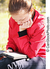 mujer, libro, electrónico, lectura