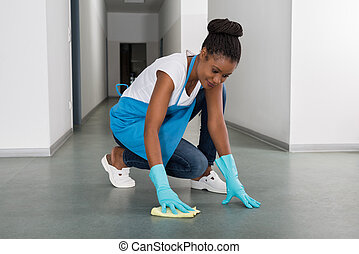 mujer, limpieza, piso
