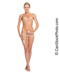 mujer, lleno, ser aplicable, pierna, joven, longitud, nata,...