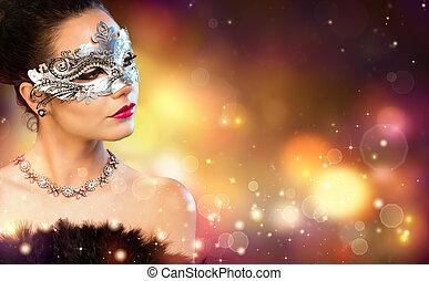 mujer, llevando, elegancia, carnaval