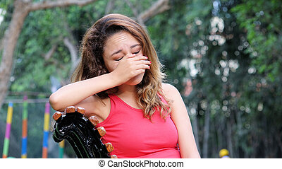 mujer llorar
