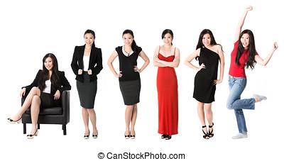 mujer, longitud, 6, lleno, retratos, asiático