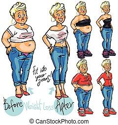 mujer, loss., peso, después, joven, antes
