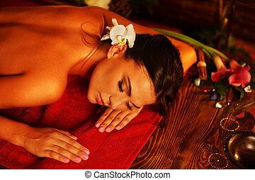 mujer, luxary, terapia, balneario, interior, oriental, salon., masaje
