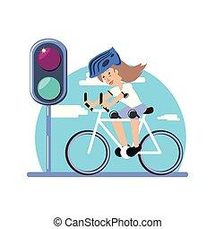 mujer, luz, paseo, carácter, trafic, bicicleta