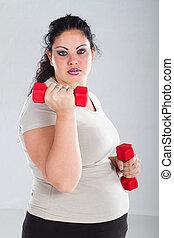 mujer, más, ejercicio, tamaño