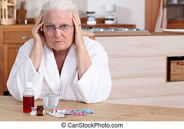 mujer más vieja, con, medicina