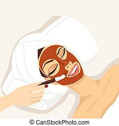 mujer, máscara, chocolate, terapia, tratamiento, teniendo