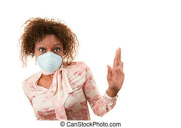 mujer, máscara de respiración