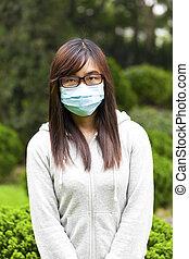 mujer, máscara, llevando, cara, médico