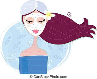 mujer, máscara, peladura, facial, balneario