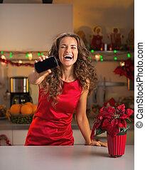 mujer, móvil, actuación, joven, teléfono, feliz