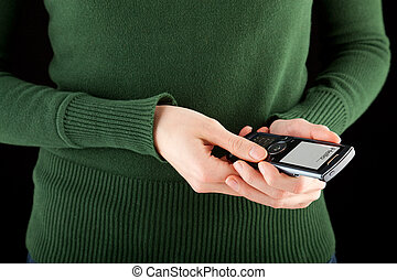 mujer, móvil, sms, mano, teléfono, tenencia, mecanografía