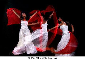 mujer, múltiplo, bailando, mancha de movimiento, exposición