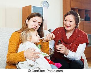 mujer, madre, maduro, enfermo, bebé, cuidado