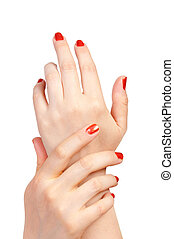 mujer, manos
