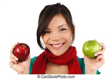 mujer, manzana