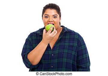 mujer, manzana, joven, más, morder, tamaño