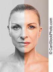 mujer, maquillaje, centro envejecido, después, antes
