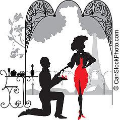 mujer, marry/, propone la unión, propuesta, hombre