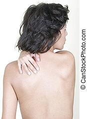 mujer, masajear, espalda superior, dolor