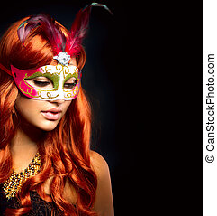 mujer, mask., negro, aislado, carnaval, hermoso