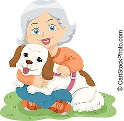mujer mayor, abrazo, perro