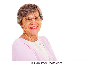 mujer mayor, aislado, blanco